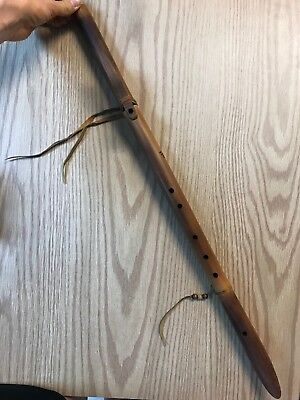 Native American Flute, River Cane Bamboo Signed MM Wall Hanging Art Oklahoma