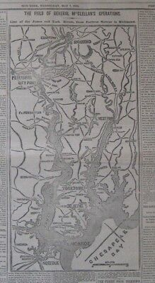 1862 New York Times w/Map Richmond to Norfolk, McClellans Advance