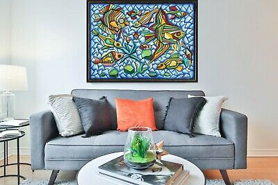 Haitian Fine Art Painting By Famous Wilfrid Daleus Haiti Abstract Cubism Fishes