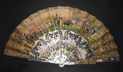 Superb Antique Victorian French Gold Gilt Mother Of Pearl Figural Scenes Fan