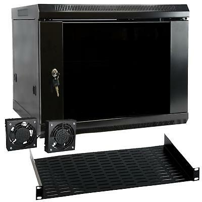 MegaMounts 9U Wall Mount Rack Enclosure Server Cabinet, Black, NEW