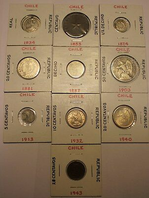 Lot Early Republic Chile Coins 1834 1853 1874 1881 1887 1903 Real Decimo Silver