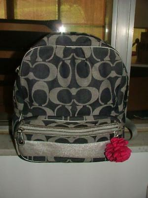 c8310122ee Coach denim Signature backpack authentic silver leather F77171 Good  Condition!