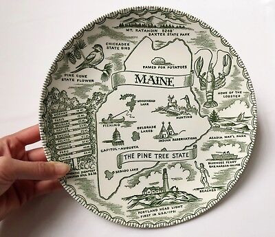 Vintage Maine The Pine Tree State Green Souvenir Collector Plate State Outline