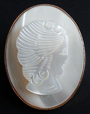 Vintage Gold-Tone Hand Carved Mother Of Pearl Cameo Brooch/Pin