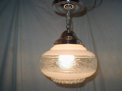 Antique Art Deco 30S Floral Bubble Ceiling Glass Shade Light Fixture Chandelier