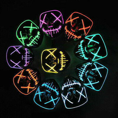 Halloween LED Horror Mask Cosplay Purge Costume Mask Full Face EL Light Up Wire