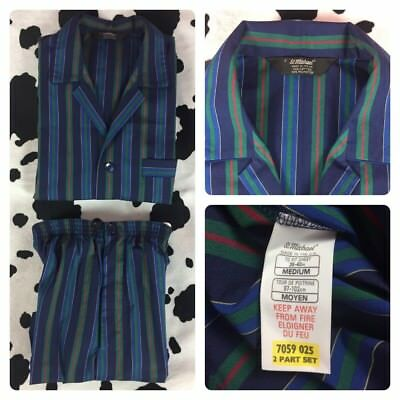 *RARE* Vtg St Michael Pyjamas Sz M 80s 90s Striped Print Smoking Marks Spencer