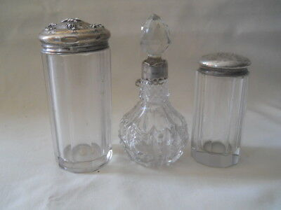 Sterling Glass 2 Bottles & Perfume Bottle