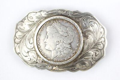 Vintage Style Sterling Silver Belt Buckle w/ 1893-O Morgan Dollar