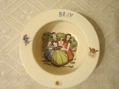 """Vint Baby's Bowl Markd Czcholslavakia/3 Young Girls - Ring Around Rosey 5 1/4""""d"""
