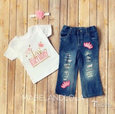 Girls 1st Birthday Distressed Jeans Princess Shirt Outfit size 12-18 months Pink