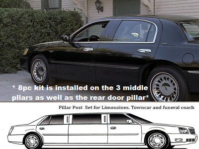 For 2000-2002 LINCOLN TOWN CAR 4-door, L-STRETCH 8 PC SS Pillar Post Trim