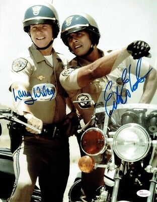 CHiPs Cast Wilcox and Estrada Autographed Signed 11x14 Photo Authentic JSA COA