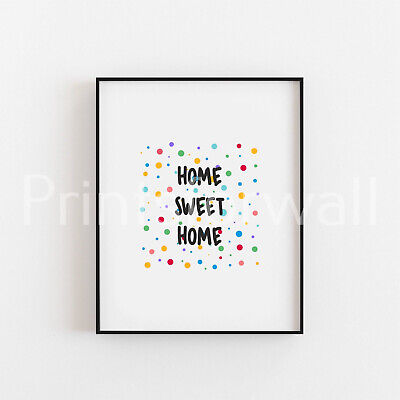 Quote Home Sweet Home Art Print Picture Home Minimalist Wall Decor Art