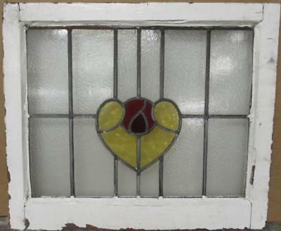 "MID SIZE OLD ENGLISH LEADED STAINED GLASS WINDOW Nice Heart Design 23"" x 19.75"""
