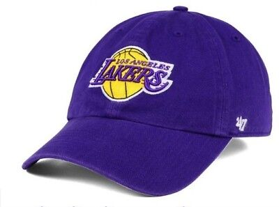 a372f10668f  47 Brand Los Angeles Lakers Strapback Clean Up Dad Hat Cap Slouch Purple  MVP.