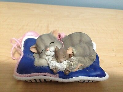 CHARMING TAILS CAT NAP 89/146 Figure Fitz And Floyd Inc. & Mouse Figurine Vtg