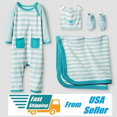 NWT Baby Organic Cat & Jack Blanket Sweater Romper Hat Soft Booties 4pc Gift Set