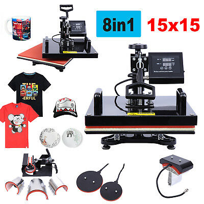 """15""""x15"""" 8 in 1 Heat Press Machine Combo Sublimation Swing Away For T-Shirts Hat"""