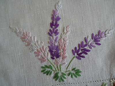 LOVELY LAVENDER  Large Doily Table Centre Vintage Hand Embroidered