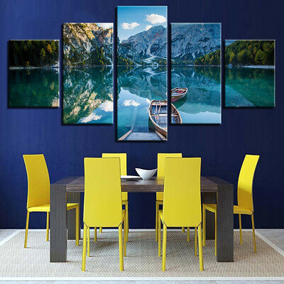 Snow Mountain Forest Lake Small Boat 5 Panel Canvas Print Wall Art Home Decor