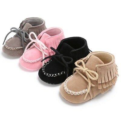 Newborn Baby Boy Girl lTassel Kid Sole Suede Shoes Moccasin Shoes 0-18M US