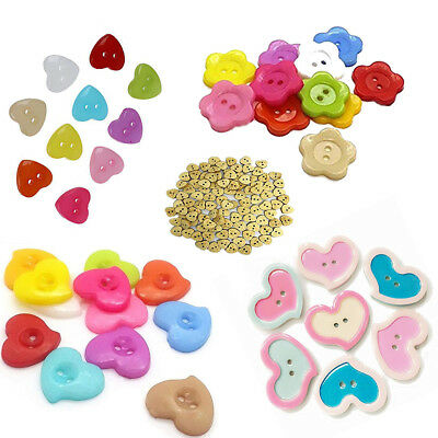 100pcs Plastic & Wood Buttons with 2 Hole Multicolor for Sewing Scrapbook Crafts
