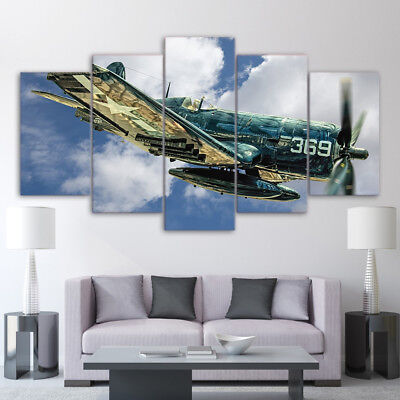 Vintage Aircraft Aviation Jet Plane Flying Poster 5 Panel Canvas Print Wall Art