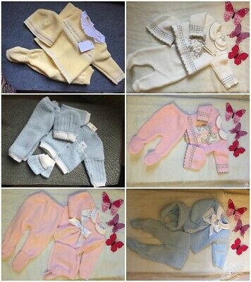 3 Piece Knitted New Born Boxed Gift Set Blue Pink White For Baby Boy And Girl