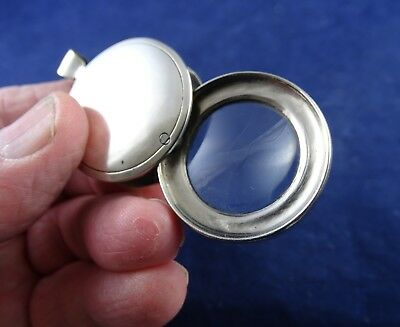 Beautiful Antique Pocket Magnifier Loupe Silver Plated in Excellent Condition