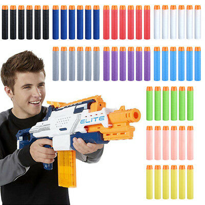 100 x GUN SOFT REFILL BULLETS DARTS ROUND HEAD BLASTERS FOR NERF N-STRIKE TOY UK