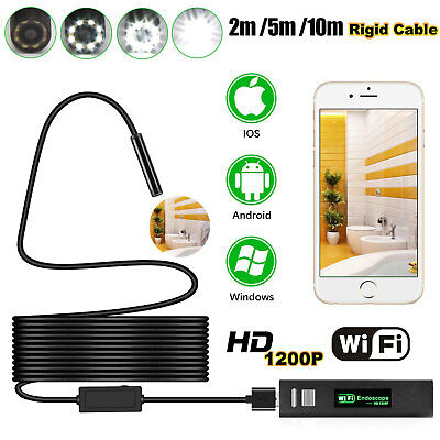 2/5/10M WIFI Endoskop 1200P HD USB Inspektions Kamera 8mm 8 LED Für Android IOS