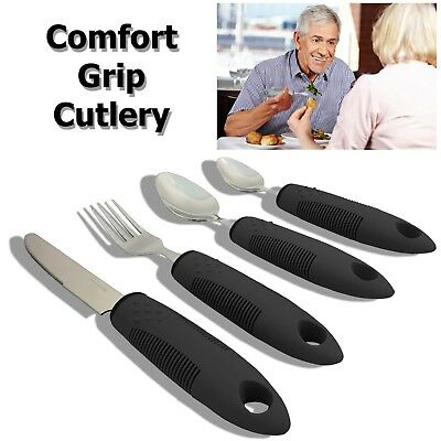 4 Piece Chunky Handles Easy Grip Cutlery Utensil Disabled Senior Disability Aid