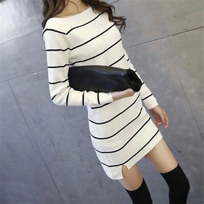 Autumn & Winter Slim Long Women Bottoming Striped Knitted Pullover Sweaters GA