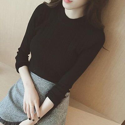 Autumn Slim Threaded Long Sleeve Bottoming Knitwear with Round Neck for Women GA