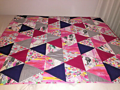 Handmade Patch Work Quilt /blanket - Laura Blythman Material - New/one Of A Kind