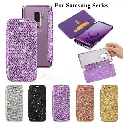 For Samsung galaxy s9 s9 plus Bling Flip Leather Wallet Case Clear Back Cover