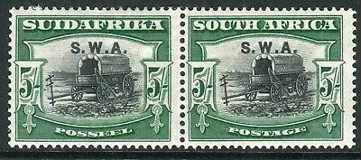 SOUTH WEST AFRICA-1927-30 5/- Black & green.  A lightly mounted mint pair Sg 66