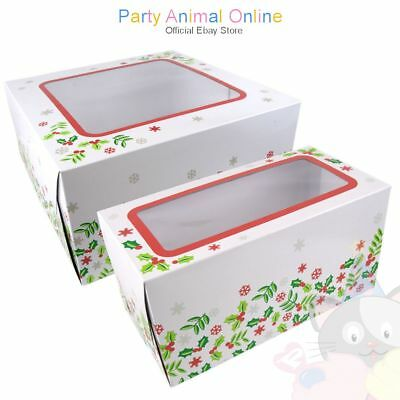Christmas Cake Boxes - Card boxes with clear windows for transporting cakes