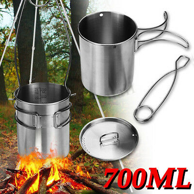 750ML Portable Handle Stainless Steel Camping Backpacking Coffee Pot Cup Kettle