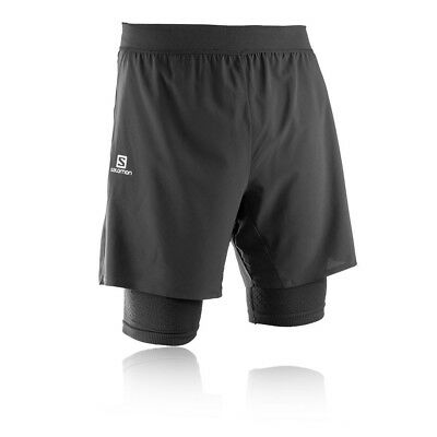 Salomon Mens Exo Motion Running Shorts Pants Bottoms Black Sports Zip Pocket