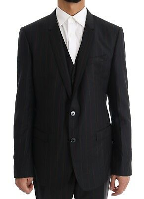 NEW $2800 DOLCE & GABBANA Suit Blue Striped Single Breasted 3 Piece EU52 / US42