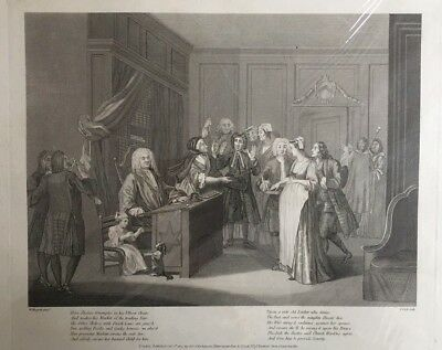 1803 Antique Print; Here Justice Triumphs in His Elbow Chair - Hogarth / Cook