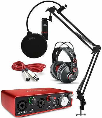Focusrite Scarlett 2i2 Studio Interface Recording Bundle with Arm and Pop Filter