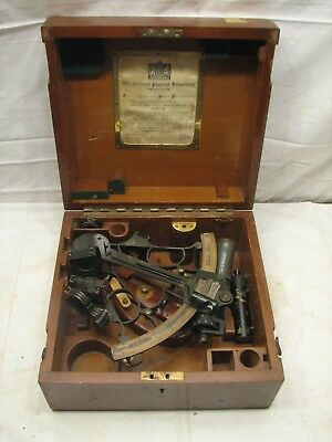 Hezzanith Brass &Iron T171 Sextant w/Wooden Box/Case Maritime Tool Naval Class A