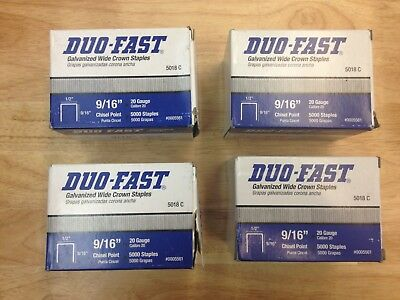 "Duo-Fast 9/16"" Chisel Point Staples 1/2"" Crown 20 Gauge 5018C 4 Boxes of 5000 ea"