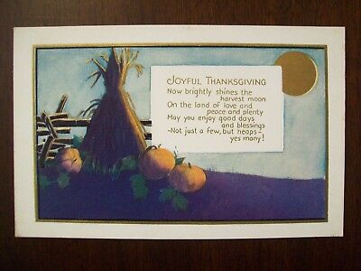 Antique Early 1900's Thanksgiving Card, No. 642, Very Good Condition