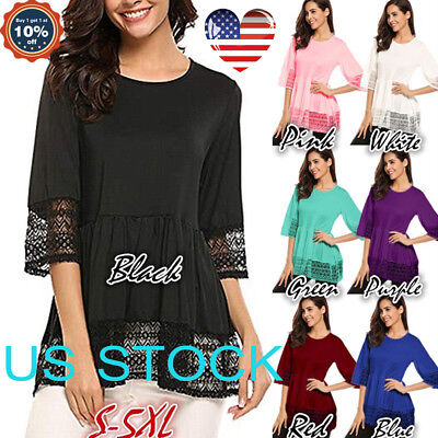 Women Pullover Tops Lace Tunic Swing T-shirt Round Neck Half Sleeve Blouse S-5XL