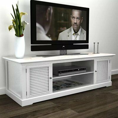 Modern Large White Wooden TV Stand Cabinet Home Storage Entertainment Center UK